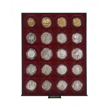 LINDNER Münzenbox, quadratische Vertiefungen 50mm, LI 2722, Rauchglas