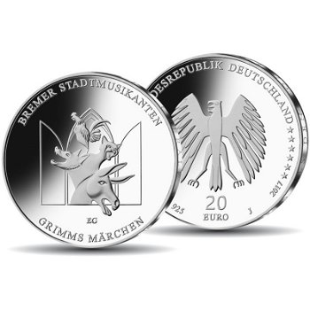 Grimms Märchen: Bremer Stadtmusikanten - 20 Euro Silbermünze 2017 Stempelglanz