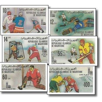 Olympische Winterspiele 1980, Lake Placid - 6 Briefmarken ungezähnt postfrisch, Katalog-Nr. 660-665,