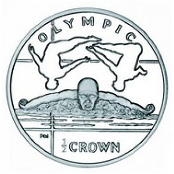 Schwimmen, 1/2-Crown-Silbermünze, Insel Man