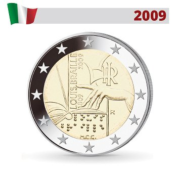 200. Geburtstag Louis Braille, 2 Euro Münze 2009, Italien