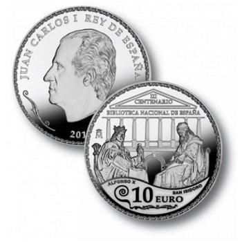 """10-Euro-Silbermünze """"300 Jahre Nationalbibliothek"""", Spanien"""