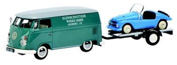 Modellauto:VW T1c Kastenwagen - Kleinschnittger -mit Autoanhänger und Kleinschnittger(Schuco, 1:43)