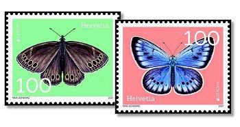 Europa 2021: Gefährdete nationale Tierwelt - 2 Briefmarken postfrisch, Schweiz