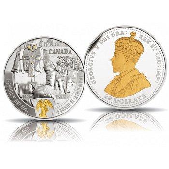 Schlacht von Vimy Ridge - Erster Weltkrieg, 20 Dollar Silbermünze 2017 mit Teilvergoldung, polierte