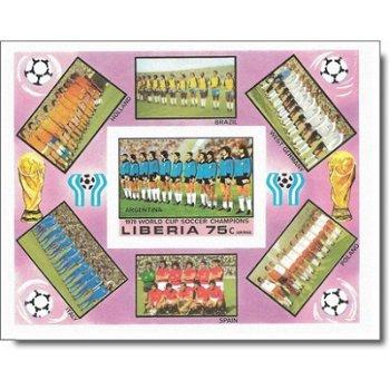 Fußball-WM 1978, Argentinien – Briefmarken-Block postfrisch, Block 92B ungezähnt, Liberia