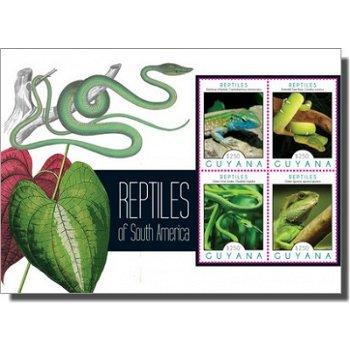 Reptilien - Briefmarken-Block, Guyana