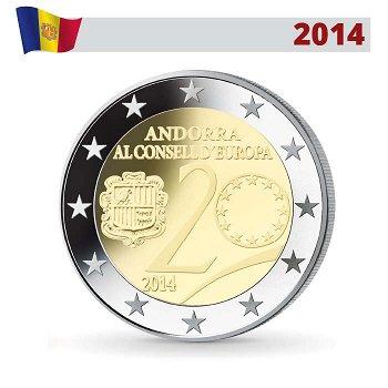 20. Jahrestag des Beitritts zum Europarat, 2 Euro Münze 2014, Andorra