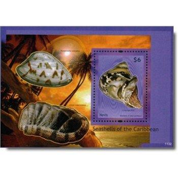 Muscheln - Briefmarken-Block, postfrisch, Nevis