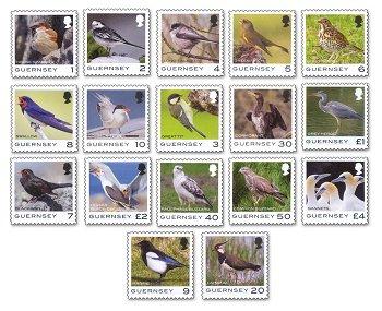 Vögel - 17 Briefmarken postfrisch, Guernsey
