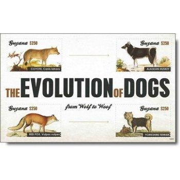 Die Evolution des Hundes - Briefmarken-Block postfrisch, Guyana