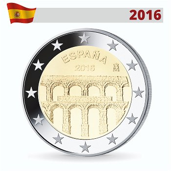 Äquadukt von Segovia, 2 Euro-Münze 2016, Spanien