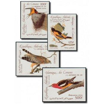 200. Geburtstag von John James Audubon - 4 Briefmarken postfrisch, Katalog-Nr. 726-729B, Komoren