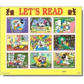 """Disney """"Kampagne für das Lesen"""" - Briefmarken-Block postfrisch, Palau"""