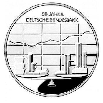 50 Jahre Deutsche Bundesbank, 10-Euro-Silbermünze 2007, Stempelglanz