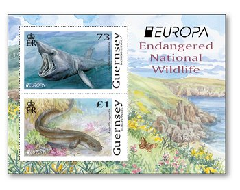 Europa 2021: Gefährdete nationale Tierwelt - Block postfrisch, Guernsey