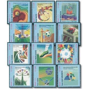1. brasilianische Briefmarken zur Fußball-Weltmeisterschaft - 12 Briefmarken postfrisch, Brasilien
