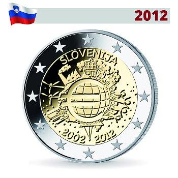 10 Jahre Euro, 2 Euro Münze 2012, Slowenien