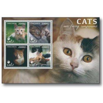 Katzen - Briefmarken-Block postfrisch, Tansania