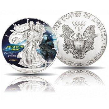 Battle of the Galaxy - Planetare Verteidigung / Leutnant Stone, Silber-Eagle 2017, 1 Dollar Silbermü