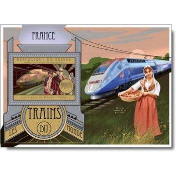 Züge der Welt: Frankreich - Briefmarken-Block postfrisch, Guinea