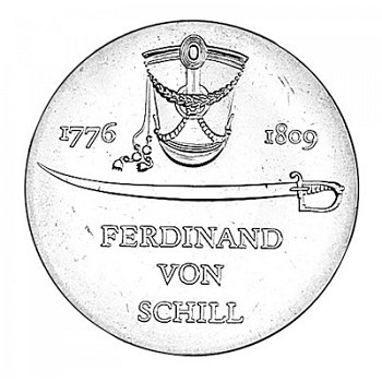 """5-Mark-Münze 1976 """"200. Geburtstag Ferdinand von Schill"""", DDR"""