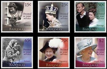 95. Geburtstag Queen Elisabeth II. - 6 Briefmarken postfrisch, Bahamas