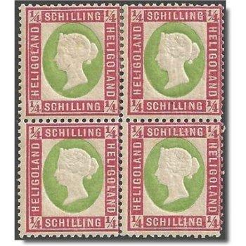 Freimarke Königin Viktoria, Viererblock Katalog-Nr.8, postfrisch, Helgoland