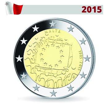 2 Euro Münze 2015, 30 Jahre Europaflagge, Malta