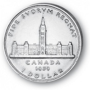 Parlamentsgebäude in Ottawa - Silberdollar 1939, 1 Dollar Silbermünze, Canada