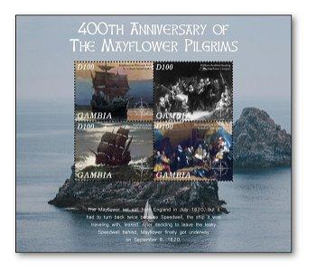 400. Geburtstag der Mayflower Pilgrims - Briefmarkenblock postfrisch, Gambia