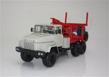 Modell-LKW:KrAZ 260L Holztransporter, grau-rot(Special C.-18, 1:43)