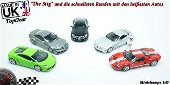Modellauto:McLaren Mercedes SLR mit Stig-Figurvon - Top Gear -, silber(Minichamps, 1:43)