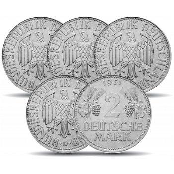 """2 DM Münzen """"Ähren"""" - Jahrgang 1951, alle vier Prägezeichen"""