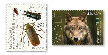 Europa 2021: Gefährdete nationale Tierwelt - 2 Briefmarken postfrisch, Deutschland und Österreich