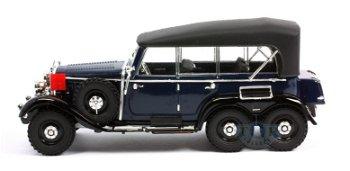 Modellauto:Mercedes-Benz G4 Cabriolet, geschlossen von 1938, blau-schwarz(Signature Models, 1:43)