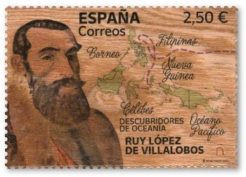 Entdecker Ozeaniens: Ruy López de Villalobos - Holz-Briefmarke postfrisch, Spanien