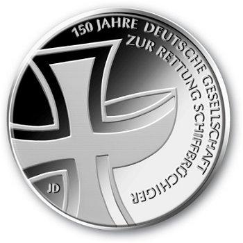 150 Jahre dt. Gesellschaft zur Rettung Schiffbrüchiger, 10-Euro-Gedenkmünze 2015, Stempelglanz