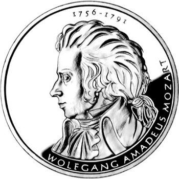 250. Geburtstag Wolfgang Amadeus Mozart, 10-Euro-Silbermünze 2006, Polierte Platte