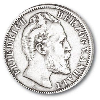 2 Mark Silbermünze, Herzog Friedrich I., Katalog-Nr. 19, Herzogtum Anhalt