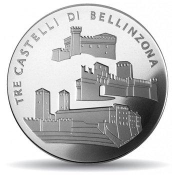 Die drei Burgen von Bellinzona, 20 Franken Münze 2004 Schweiz, Polierte Platte