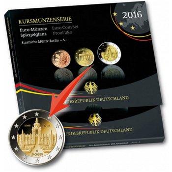 Kursmünzensatz 2016, Polierte Platte alle 5 Prägestätten, Deutschland
