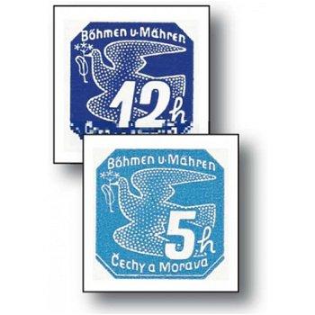 Die ungezähnten Zeitungsmarken - 9 Briefmarken postfrisch, Katalog-Nr.42-50, Böhmen und Mähren