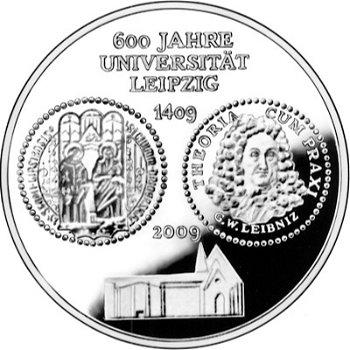 600 Jahre Universität Leipzig, 10-Euro-Silbermünze 2009, Polierte Platte