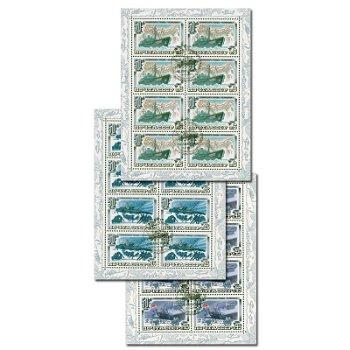 50. Jahrestag der Tscheljuskin Polarexpedition - 3 Briefmarken-Kleinbogen-Blocks Katalog-Nr. 5376-78
