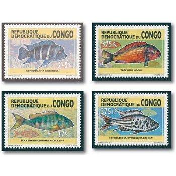 Süßwasser Fische - 4 Briefmarken postfrisch, Kongo