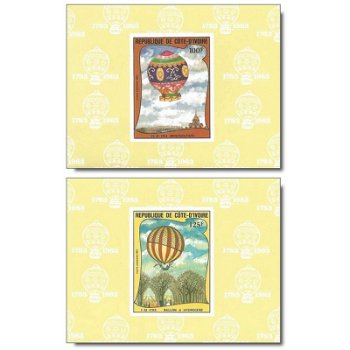 200 Jahre Luftfahrt - 5 Luxusblocks postfrisch, Katalog-Nr. 772B-776B, Elfenbeinküste