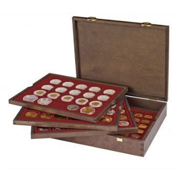 Echtholzkassette CARUS mit 4 Tableaus für 140 Münzkapseln mit Außen-Ø 32 mm, f. 2 Euro Münzen, LI 24