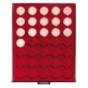 LINDNER Münzenbox für 2 €-Münzen verkapselt, LI 2930, Rauchglas