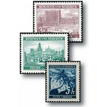 Die erste Freimarkenserie - 18 Briefmarken postfrisch, Katalog-Nr. 20-37, Böhmen und Mähren